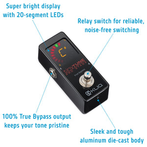 KLIQ TinyTune Pro Stage Tuner Pedal with True Bypass Switching