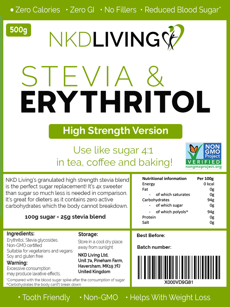 Stevia and Erythritol 4:1 (High Strength Version) 500g
