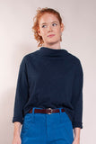 Super soft preshrunk 100% cotton heavy slub jersey. Cropped, wide fit, slouchy cowlneck, and long sleeves.