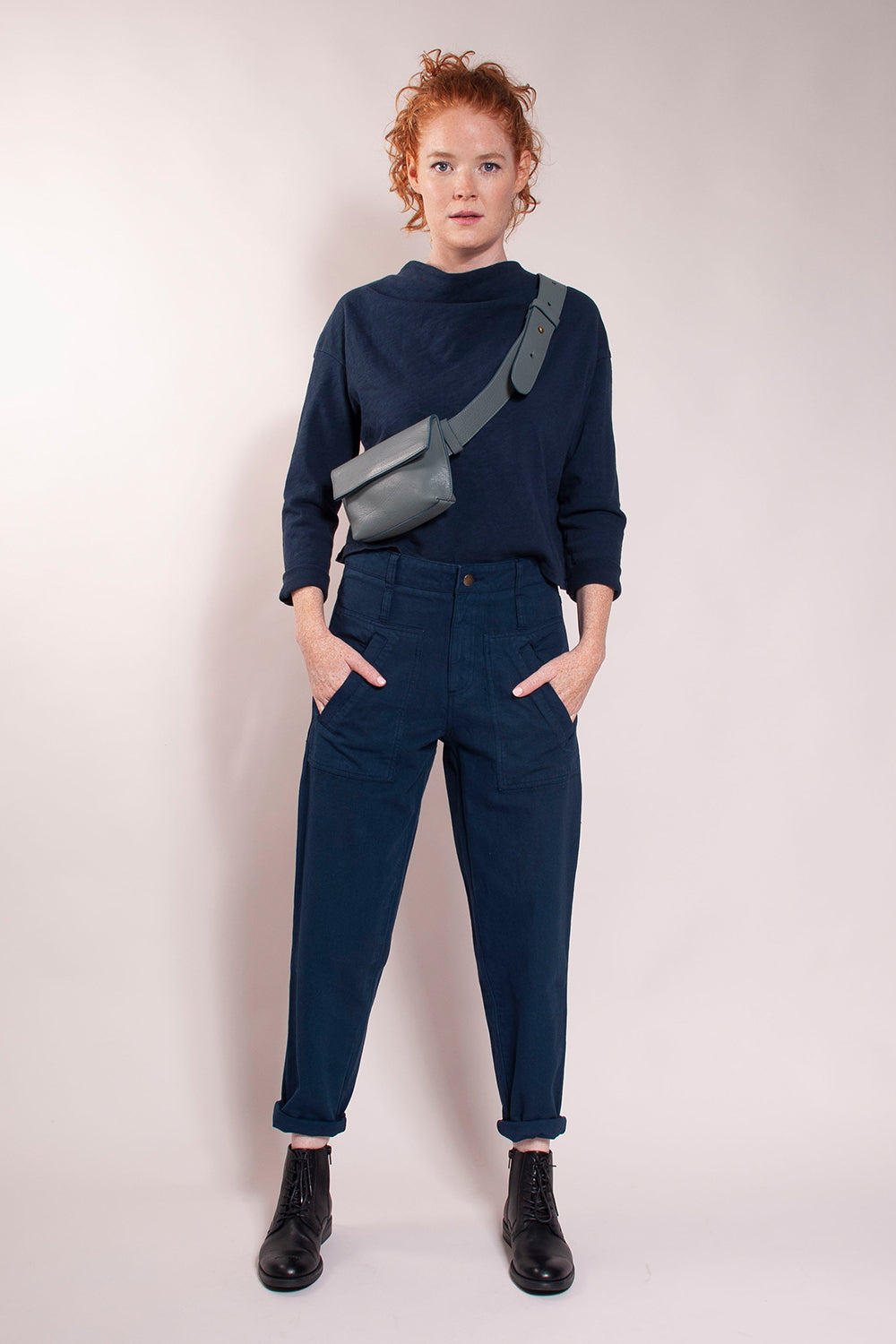 "High waist, generous fit, tapered cropped ankle. Front patch pockets with welt opening and back patch pockets.  27 1/2"" inseam. Preshrunk 100% cotton canvas. These are your new everyday pants! Model wears a size 27."