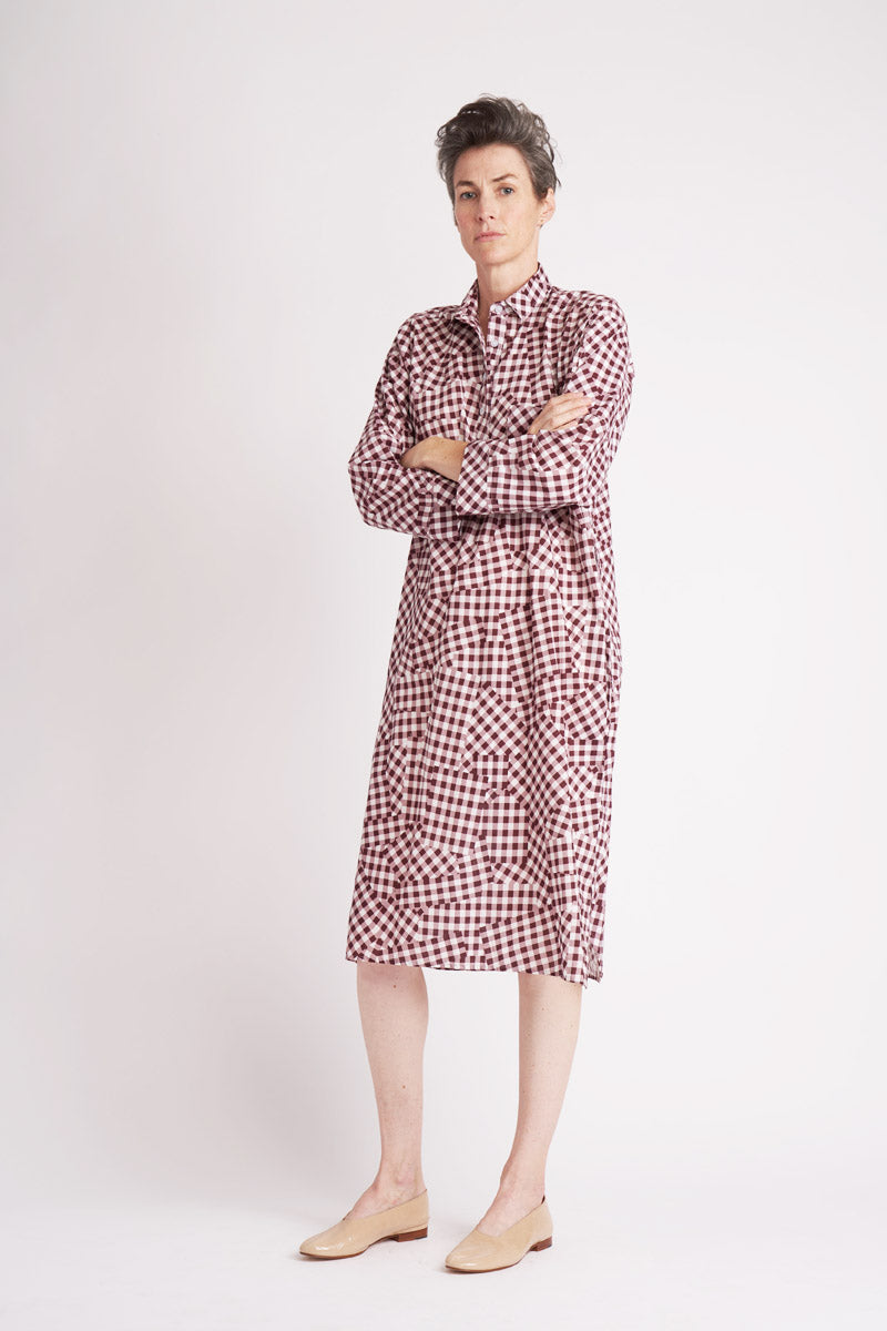 Gingham Smock Dress ° Bordeaux
