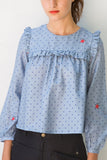 Alyssum Dot Ruffle Blouse ° Cloud