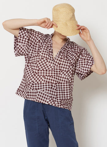 Gingham Easy Top - Burgundy