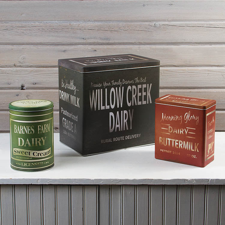 Advertising Dairy Tins (Set of 3)