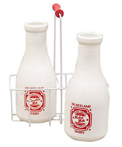 "Retro Milk Bottles with Carrier - Large, 11"" x 9"" Set of 2 with wire carrier"