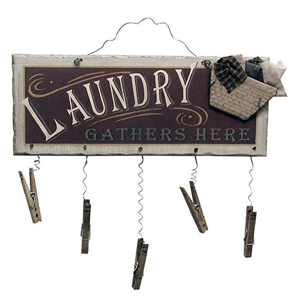 Laundry Gathers Here - Clothespin hanging wall decor