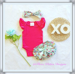 3pcs Flutter Sleeve Bloomers Set