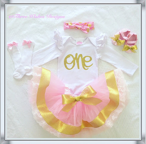 5pcs Gold & Pink 1st Birthday Set