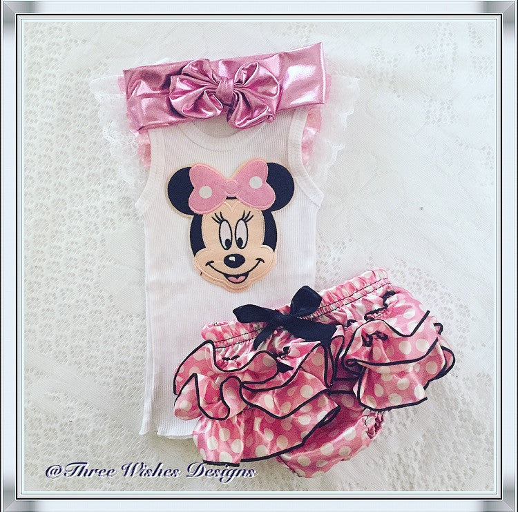 Minnie Mouse 3pcs Bloomers Set - Pink