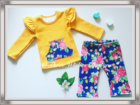 2pcs Pants & Flutter Top Set - Katie