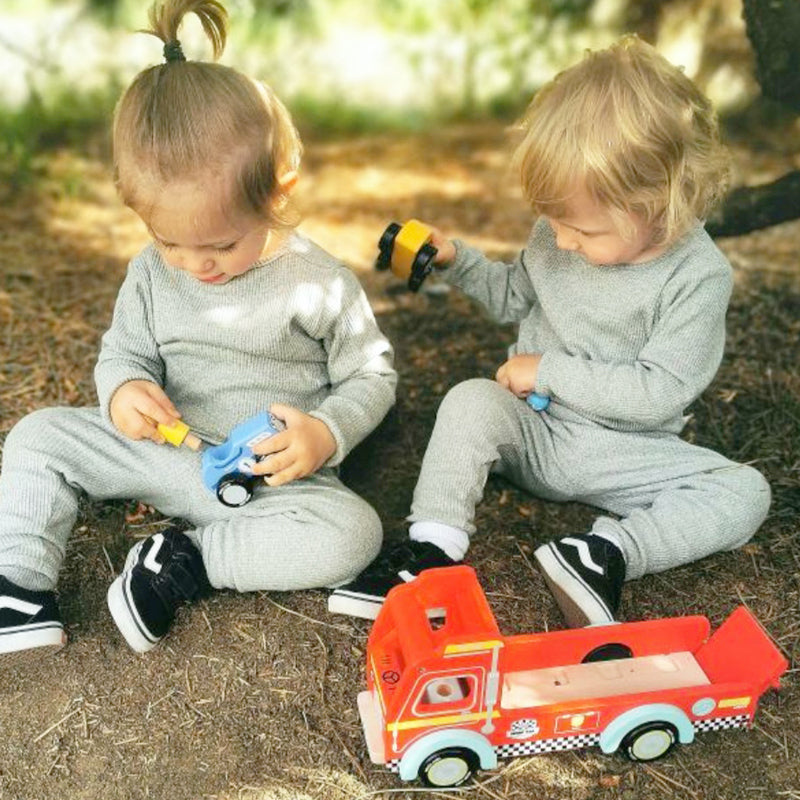 sustainable wooden toy, plastic free designed in great britain car transporter
