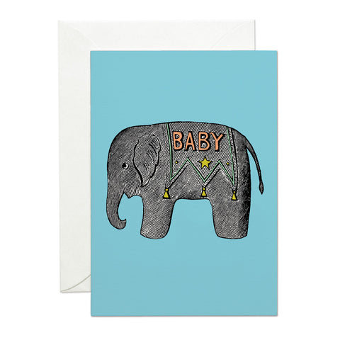 Baby Elephant Blue greeting card (PACK OF 6)