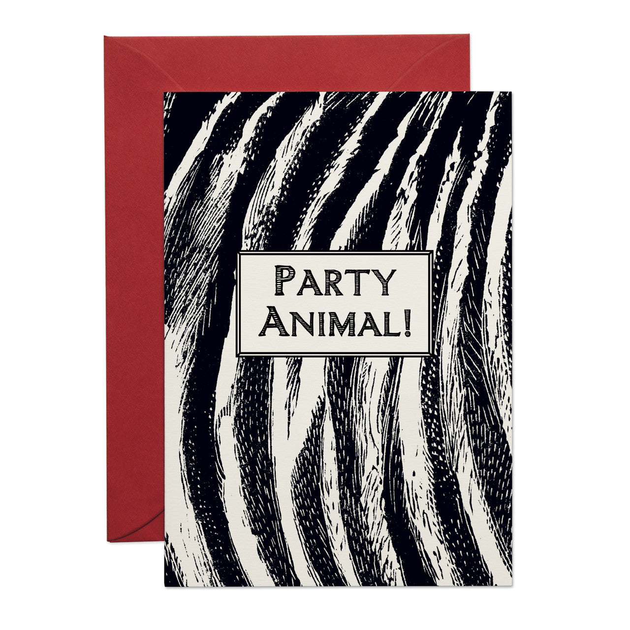 Zebra Print 'Party Animal' Greeting Card (PACK OF 6)