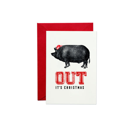 Pig Out It's Christmas Greeting Card (PACK OF 6)