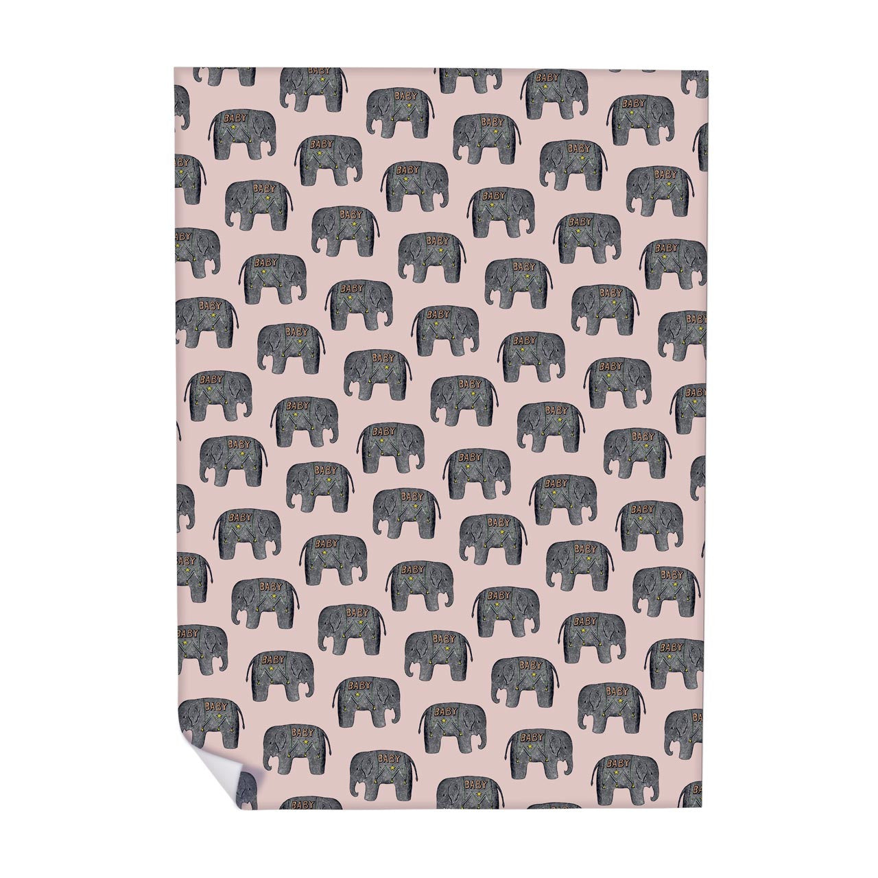 Baby Elephant (Pink) Wrapping Paper (ROLL OF 25)
