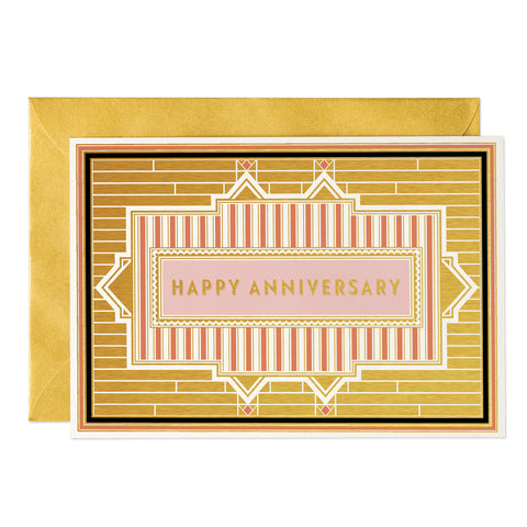 Happy Anniversary- Art Deco greeting card (PACK OF 6)