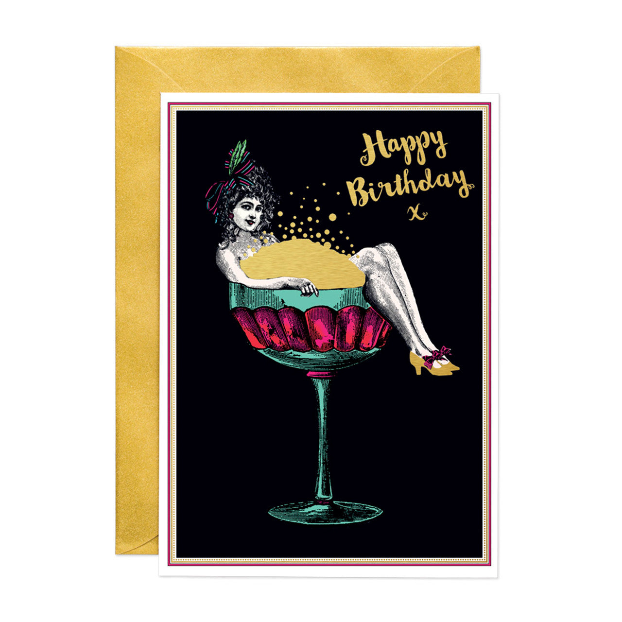 Happy Birthday Champagne Lady (LARGE) Greeting Card (PACK OF 6)