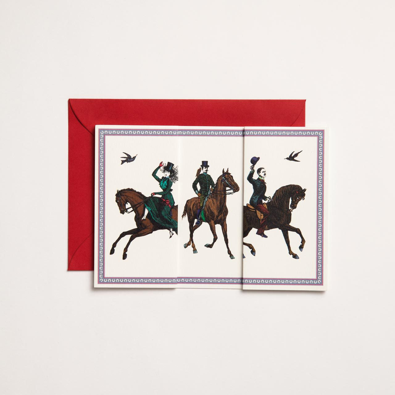Galloping Horses Long Folding Card