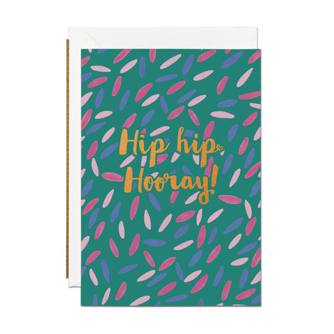 Hip Hip Hooray- Copper Foil greeting card (PACK OF 6)