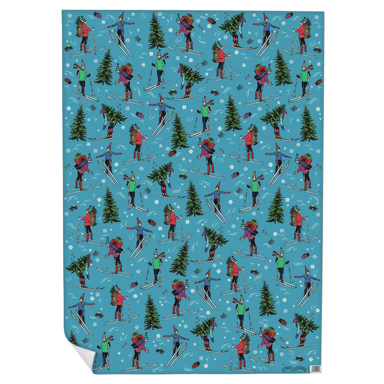 Chistmas Skiing Wrapping Paper