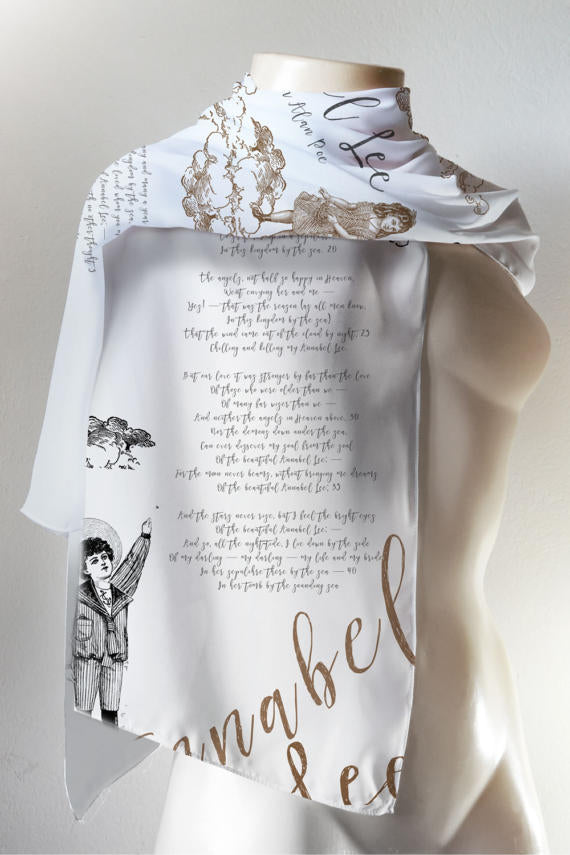 Annabel Lee Book Scarf, Edgar Allan Poe Literary Scarf