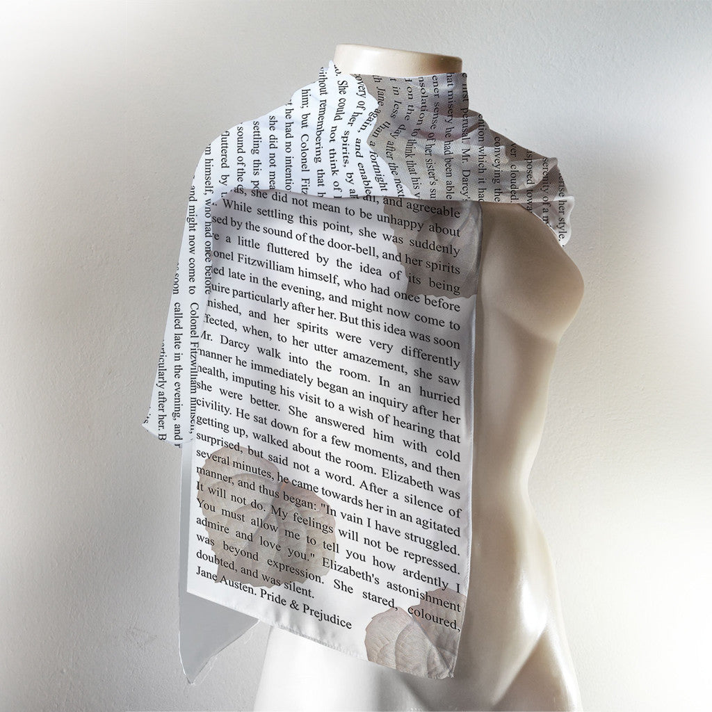 Jane Austen Book Scarf - White, Pride and Prejudice Literary Scarf