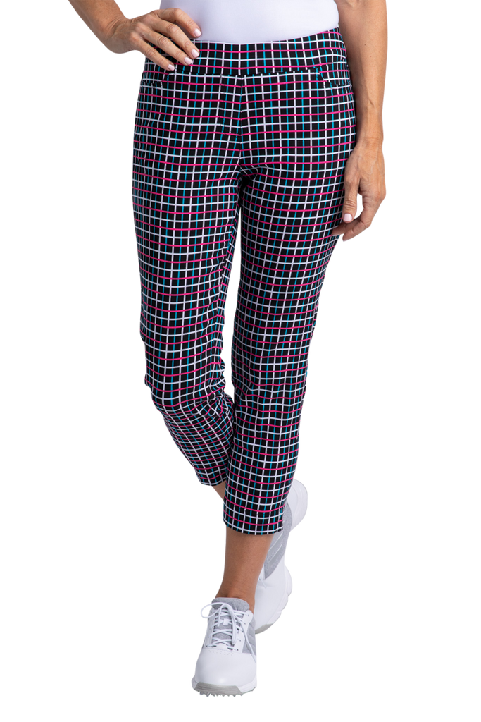 SlimSation Print Skinny Crop-Black Plaid