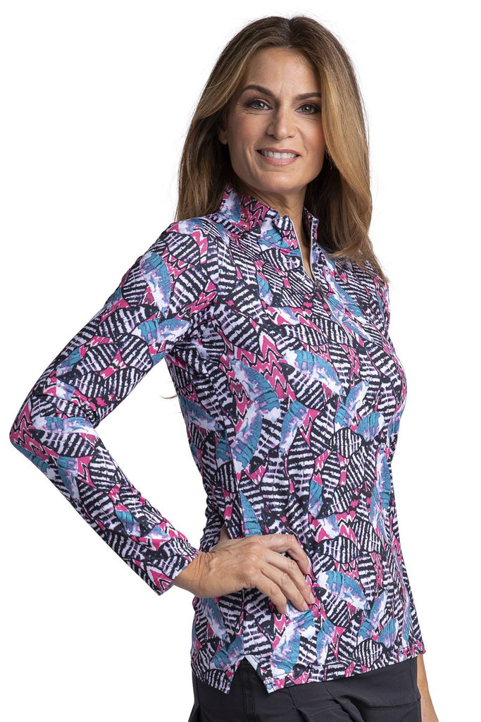 Bette & Court Thrive LS Print Polo
