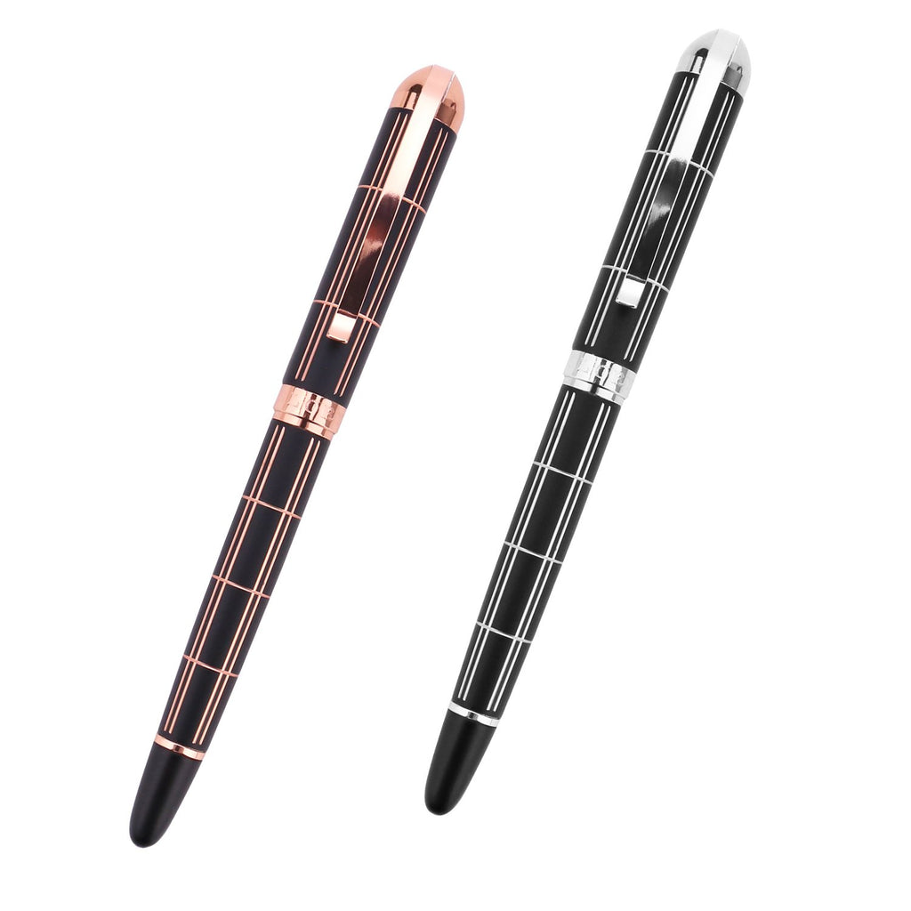 Croton Ballpoint Pen with laser cut grooves in matte black and rose accents