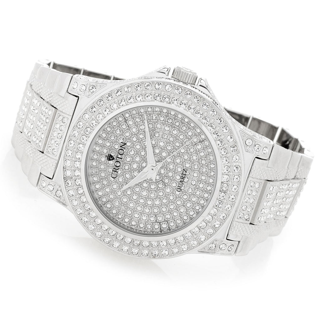 Men's Silvertone Quartz Watch with Full Austrian Crystal Dial & Bezel & Crystal Bracelet
