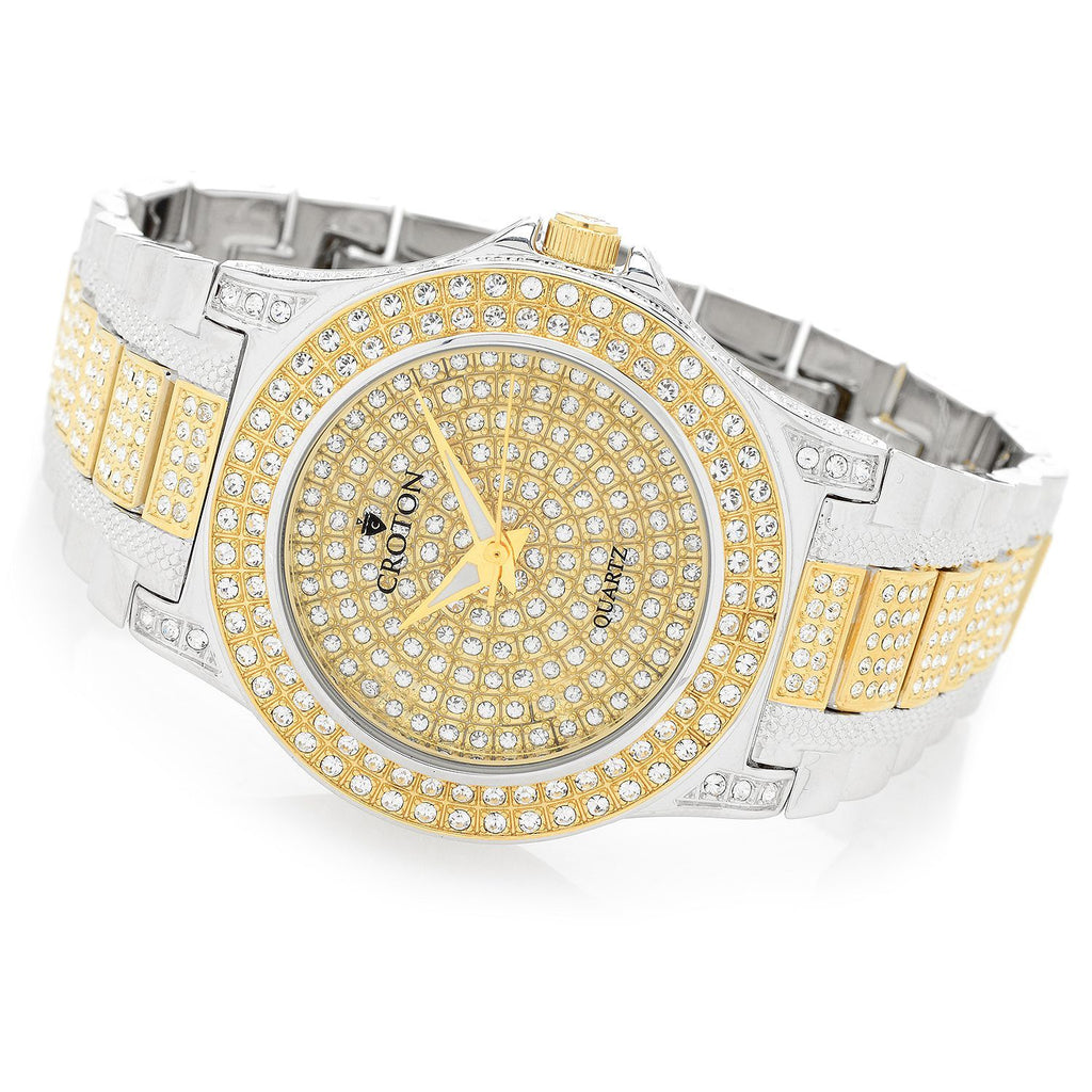 Men's Two Tone Quartz Watch with Full Austrian Crystal Dial & Bezel & Crystal Bracelet