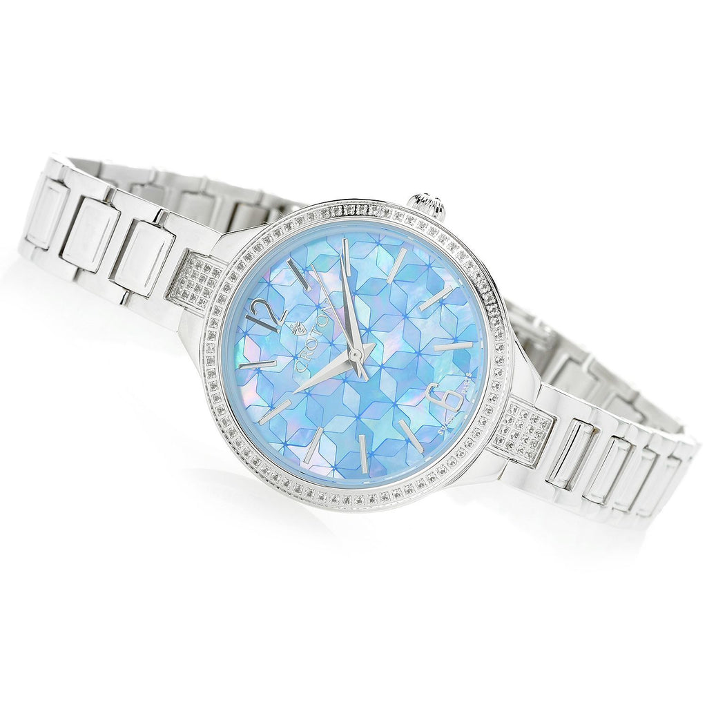 Silvertone Swiss Quartz Watch with White Topaz  Bezel & Mosaic Mother of Pearl Dial