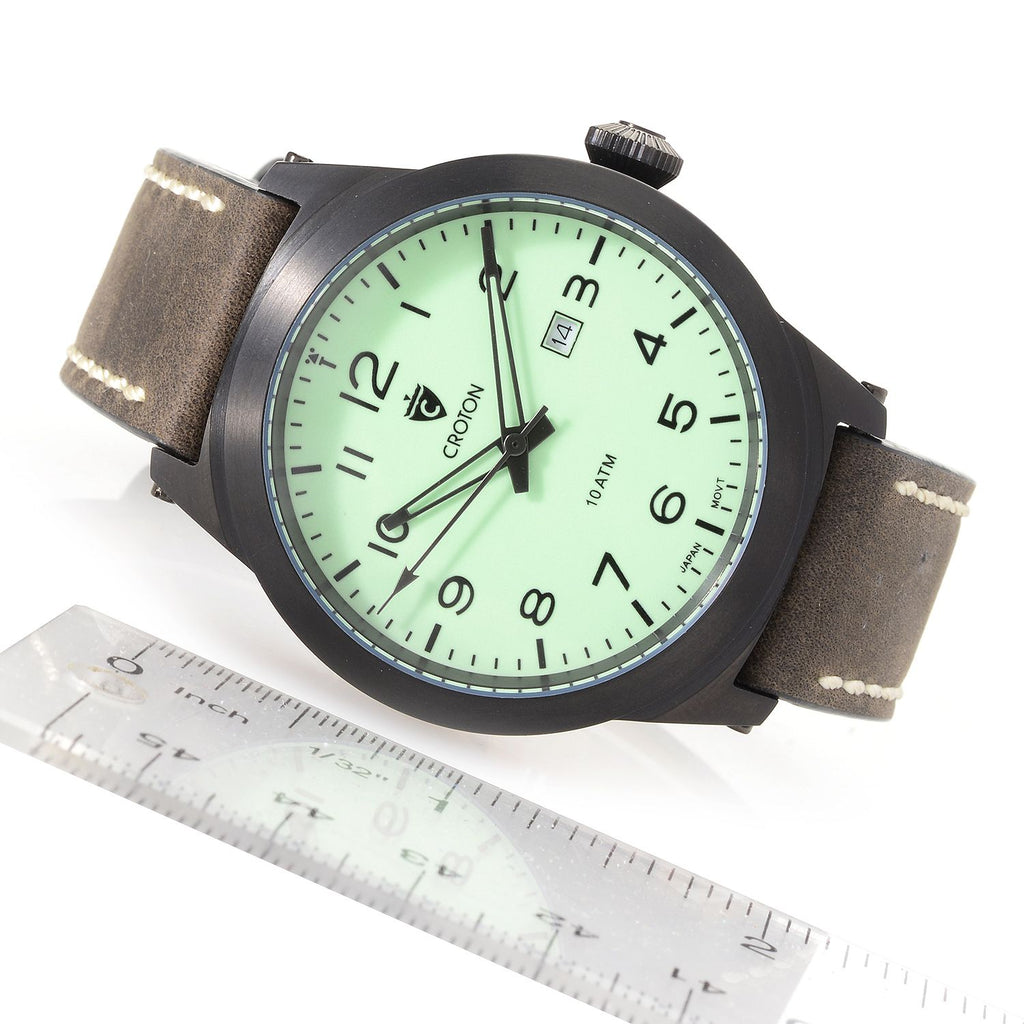 Men's IP Black Stainless Steel Superluminova Green Dial Watch with Leather Strap