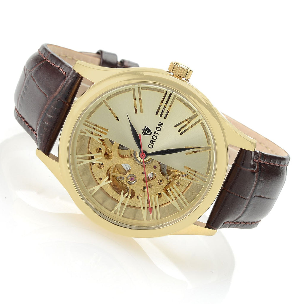 Men's Goldtone Skeleton Automatic with Genuine Leather Strap