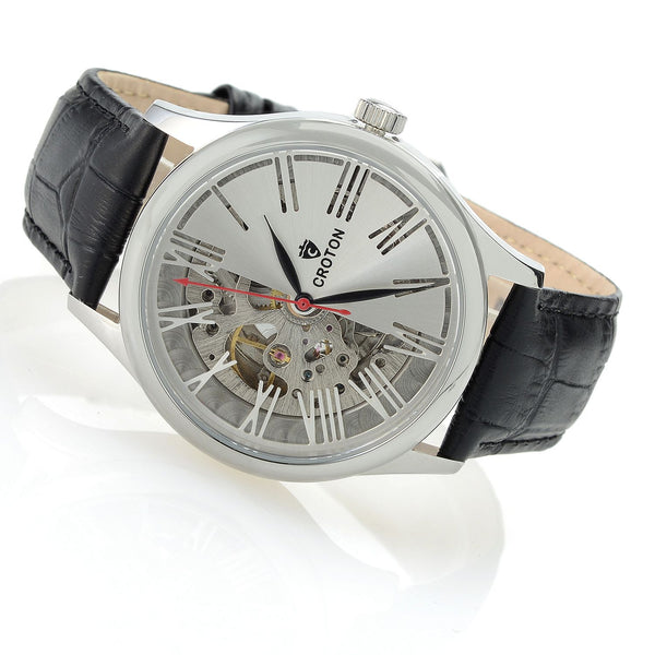 Men's Silvertone Skeleton Automatic with Genuine Leather Strap