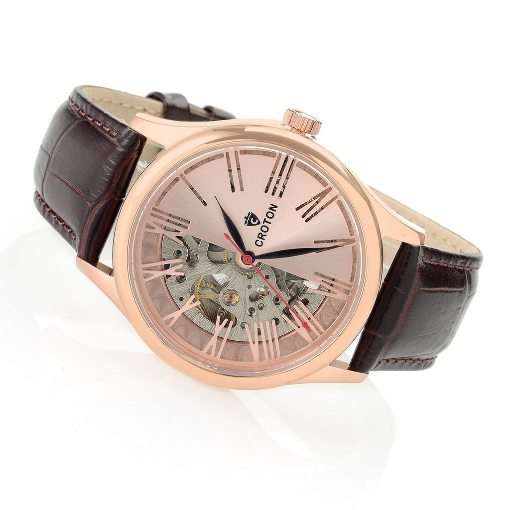 Men's Rosetone Skeleton Automatic with Genuine Leather Strap