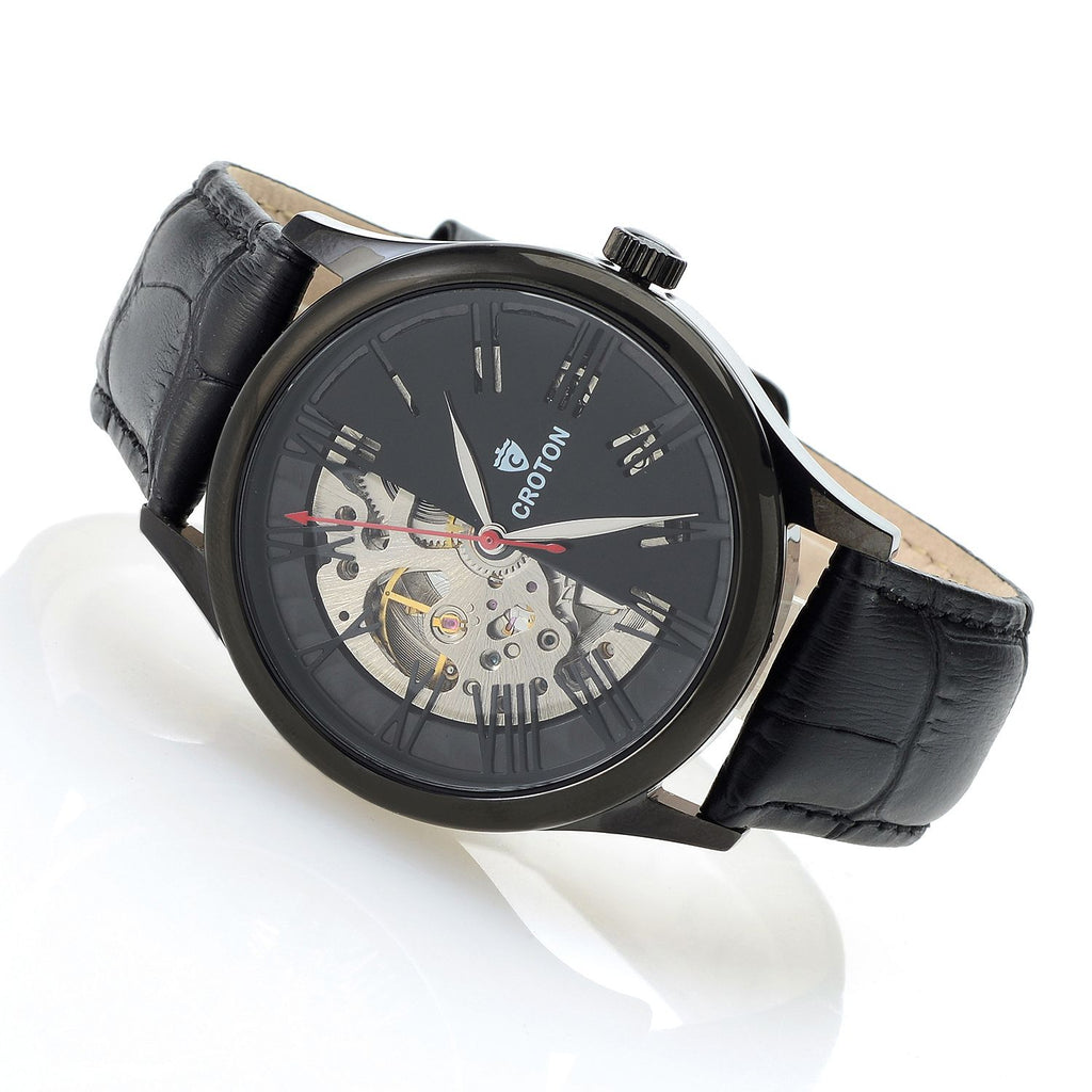 Men's Black Skeleton Automatic with Genuine Leather Strap