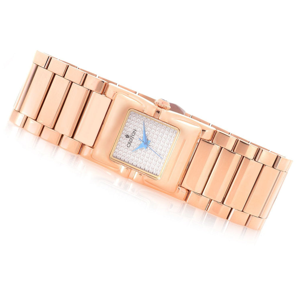 Ladies Rosetone Swiss Parts Bracelet Watch with Square CZ Pave Dial - CROTON GROUP