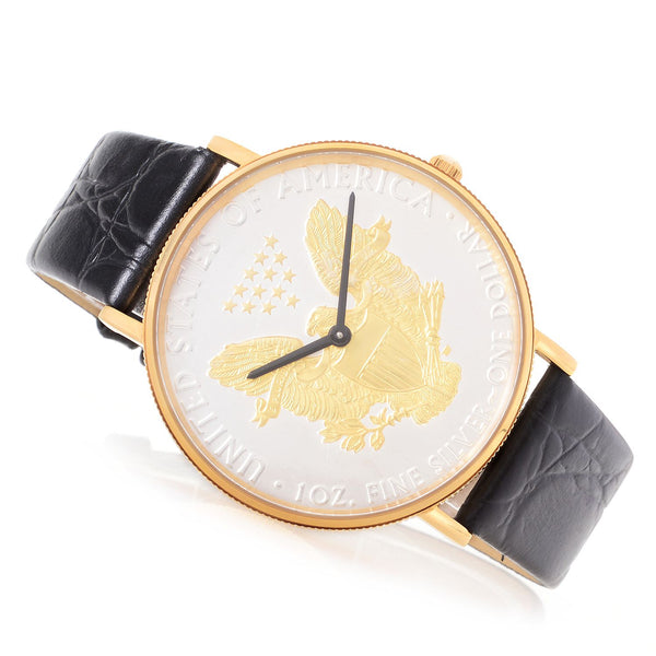 Men's Two Tone 2017 Silver Dollar Coin Watch with Goldtone Case & Leather Strap