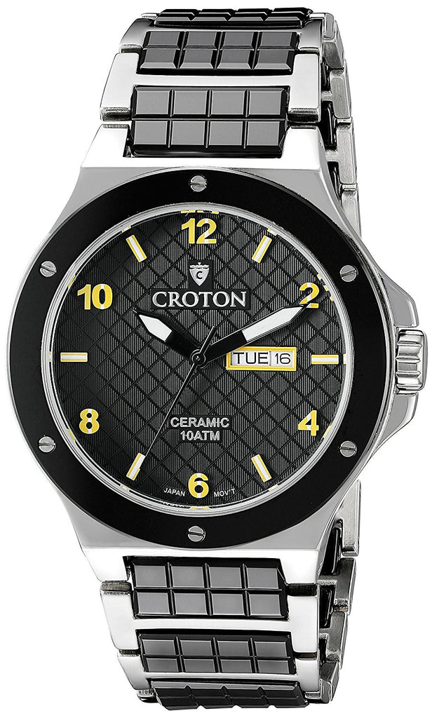Men's Japan Quartz Black Ceramic & Stainless Steel Dress Watch with Day & Date
