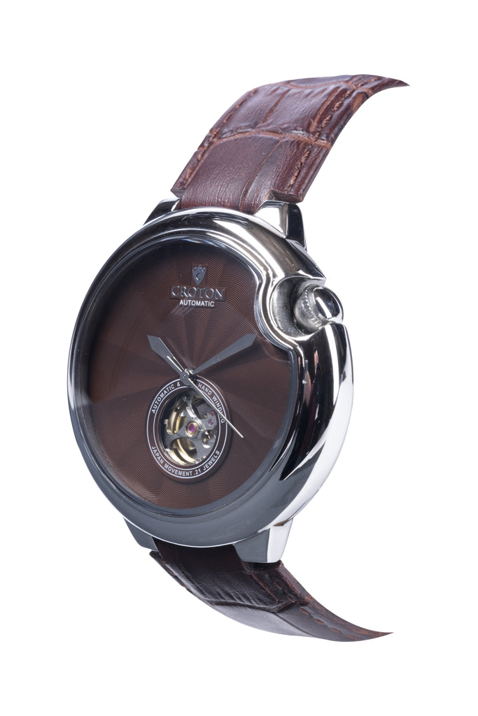 Men's Stainless Steel Automatic with Heartbeat & Brown Dial & Brown Leather Strap