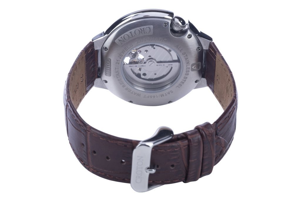 Men's Stainless Steel Automatic with Heartbeat & White Dial & Brown Leather Strap