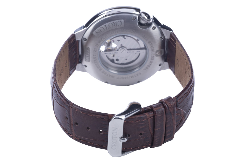 Men's Stainless Steel Automatic with Heartbeat & Ivory Dial & Brown Leather Strap - CROTON GROUP