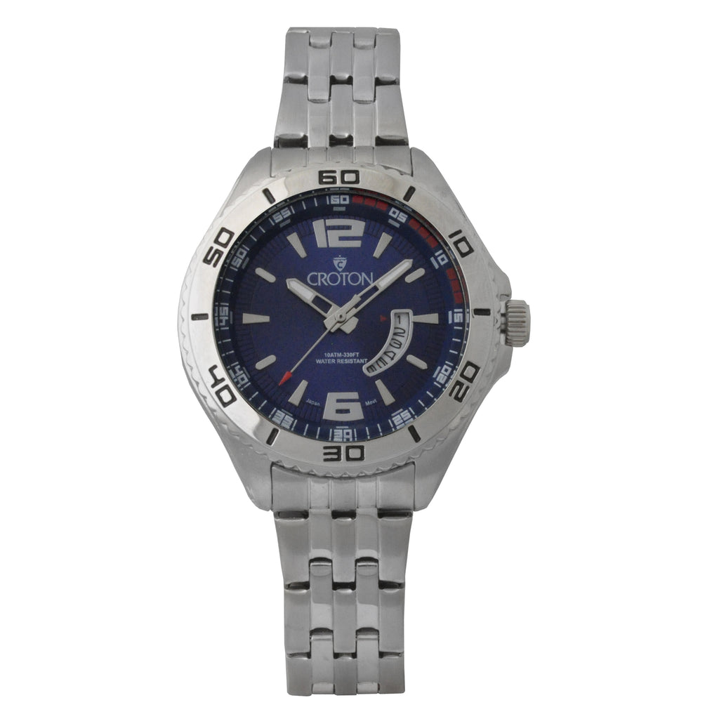 Ladies Silvertone Stainless Steel Sport Watch with Date Window & Blue Dial