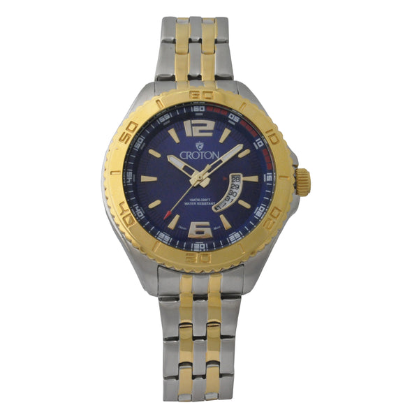 Ladies Two Tone Stainless Steel Sport Watch Date Window & Blue Dial