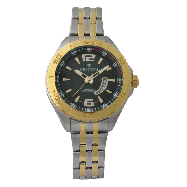 Ladies Two Tone Stainless Steel Sport Watch Date Window & Green Dial