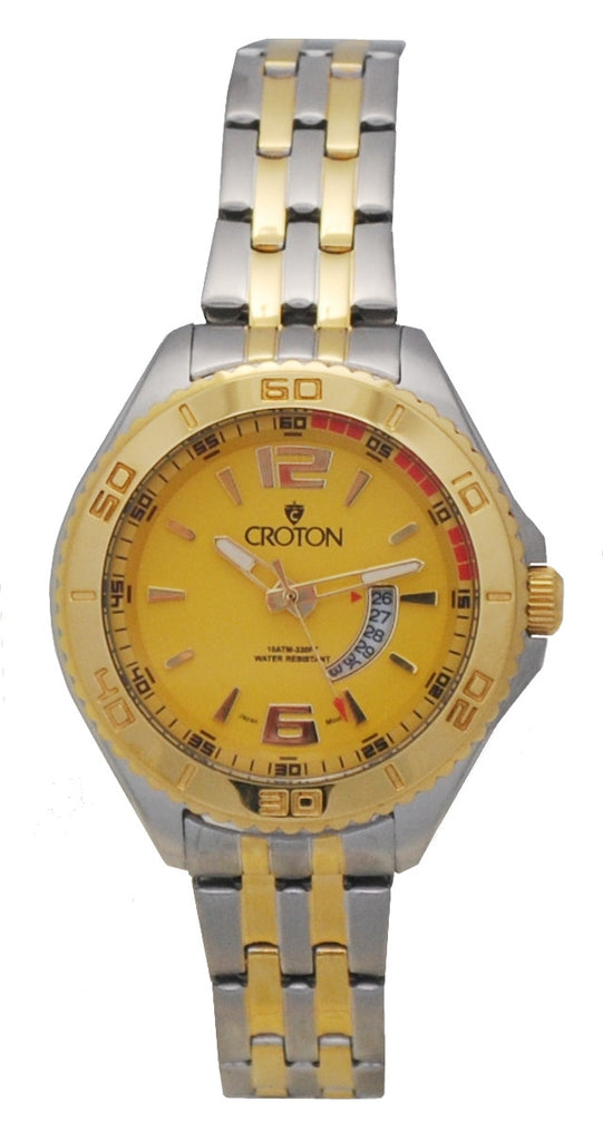 Ladies Two Tone Stainless Steel Sport Watch Date Window & Yellow Dial