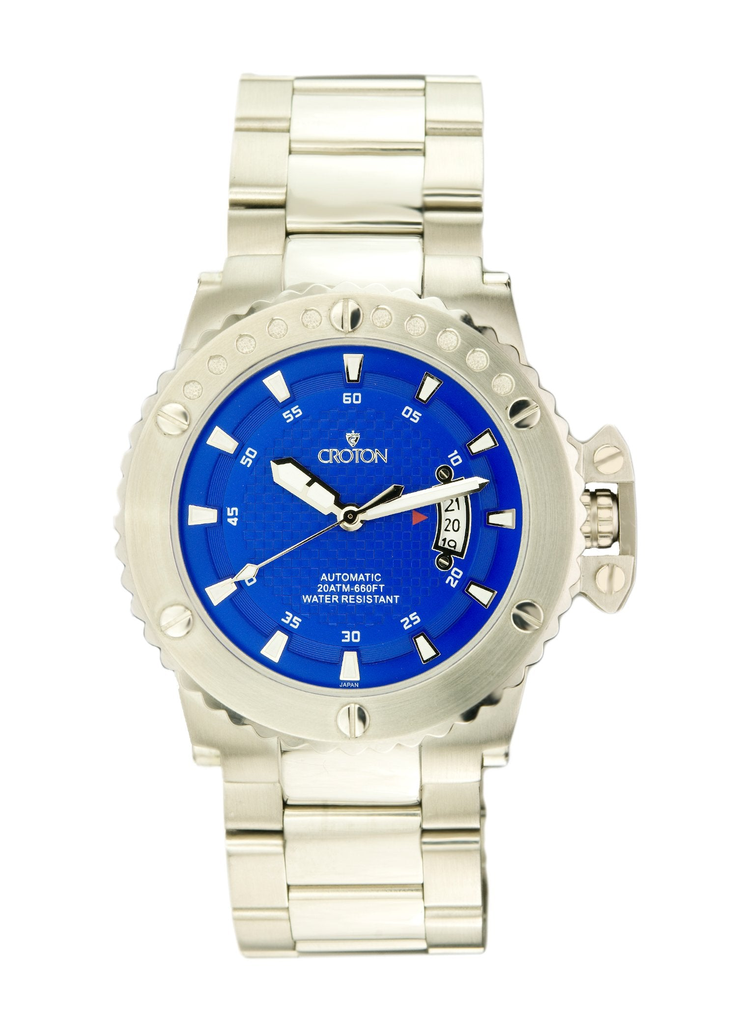 7fd67e20e Mens Automatic CR8315 All stainless steel Watch Blue Dial - CROTON GROUP