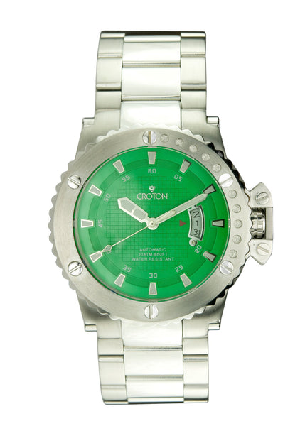 Mens Automatic CR8315 All stainless steel Watch Green Dial
