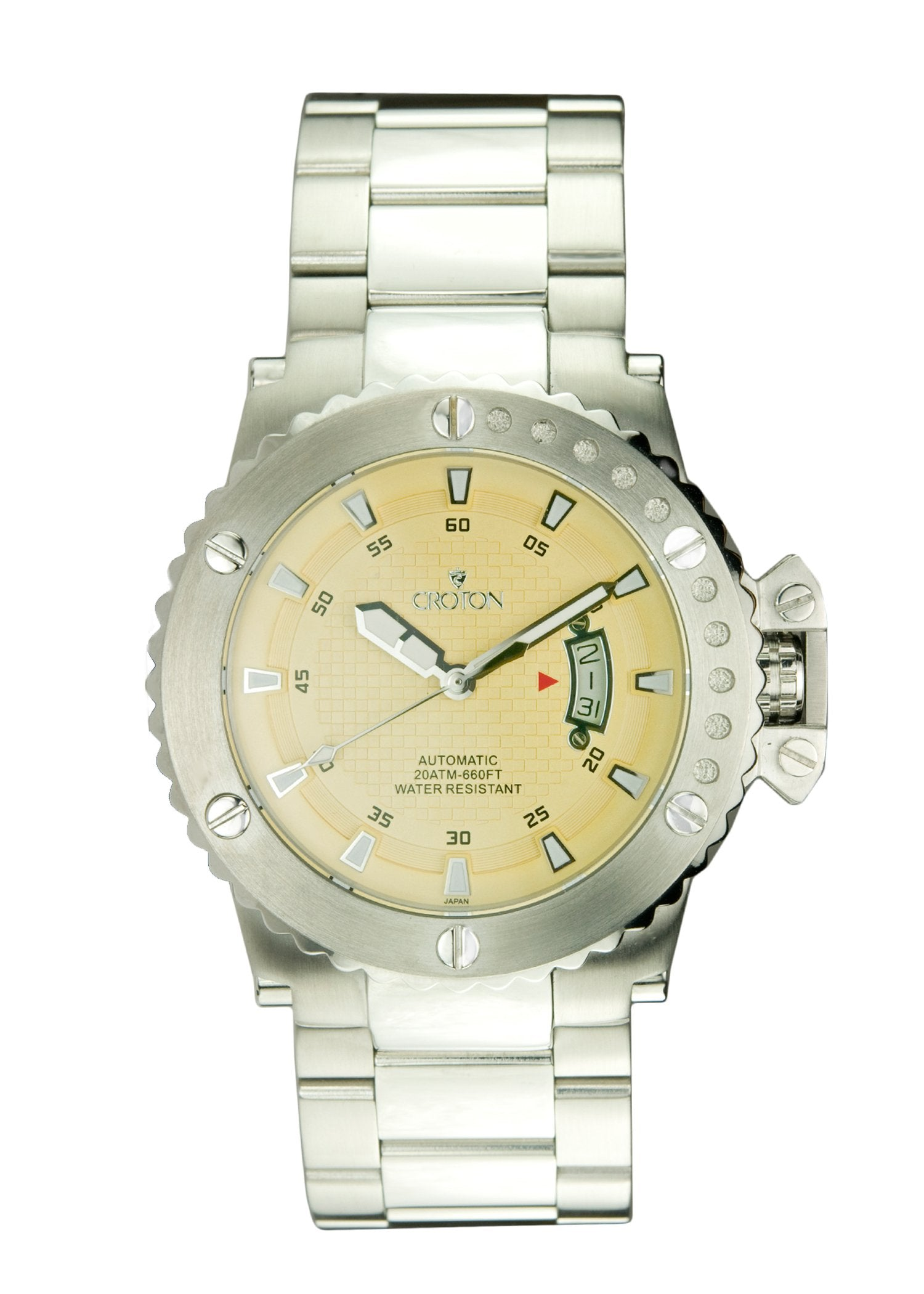 99eb9a921 Mens Automatic CR8315 All stainless steel Watch Yellow Dial - CROTON GROUP